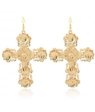 Abstract Hollow Floral Giant Cross Design High Fashion Women Statement Earrings - Golden