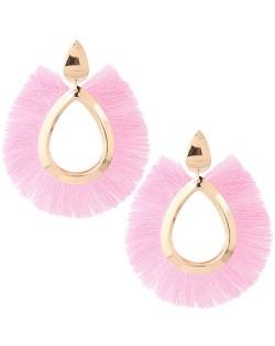 Waterdrop Threads High Fashion Women Statement Earrings - Pink