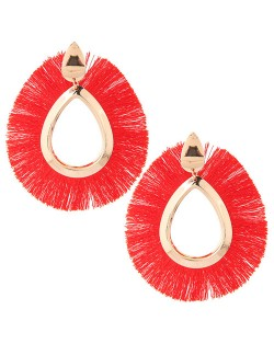 Waterdrop Threads High Fashion Women Statement Earrings - Red