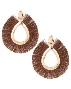 Waterdrop Threads High Fashion Women Statement Earrings - Brown