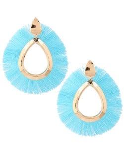 Waterdrop Threads High Fashion Women Statement Earrings - Blue
