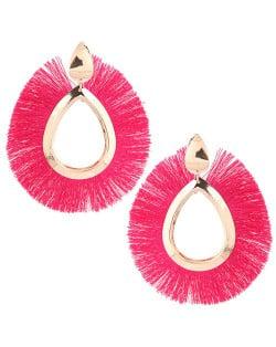 Waterdrop Threads High Fashion Women Statement Earrings - Rose