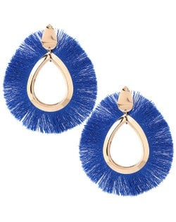 Waterdrop Threads High Fashion Women Statement Earrings - Royal Blue