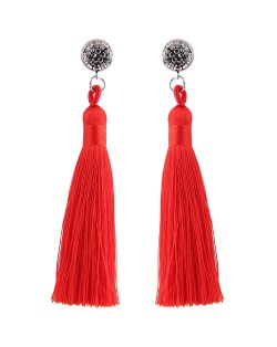 Cotton Threads Shining Studs High Fashion Statement Earrings - Red