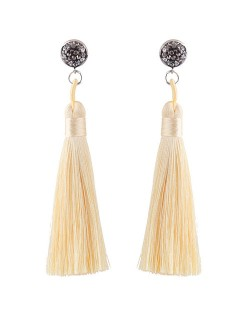 Cotton Threads Shining Studs High Fashion Statement Earrings - Beige