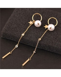 Star and Pearl Decorated Long Tassel Chain Design Women Fashion Earrings