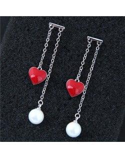 Red Heart and Pearl Pendants Korean Fashion Women Earrings - Silver