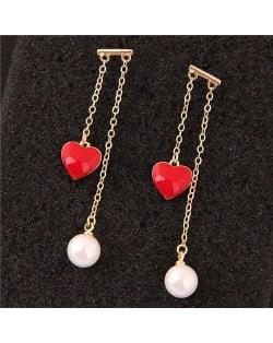 Red Heart and Pearl Pendants Korean Fashion Women Earrings - Golden