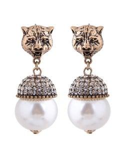 Leopard Head with Shining Rhinestone Pearl Pendant Vintage Style Women Statement Earrings