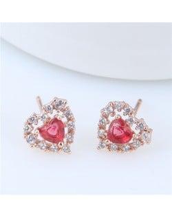 Cubic Zirconia Graceful Heart Shape Korean Fashion Copper Earrings - Golden
