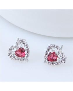 Cubic Zirconia Graceful Heart Shape Korean Fashion Copper Earrings - Silver