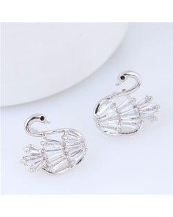 Cubic Zirconia Korean Fashion Swan Design Women Statement Earrings - White