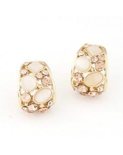 Korean Fashion Opal Decorated Hollow Ear Studs - White