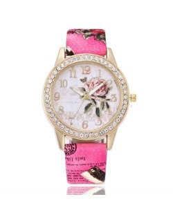 9 Colors Available Rhinestone Embellished Flower and Butterfly Fashion Index Design Wrist Watch