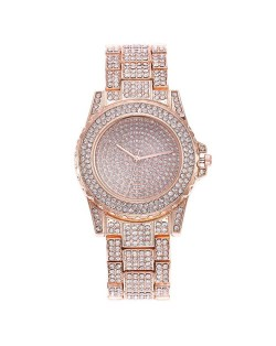 Three Colors Available Rhinestone Inlaid Elegant Shining Fashion Stainless Steel Wrist Watch