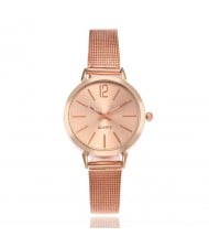 6 Colors Available Vintage Fashion Plain Dial Women Stainless Steel Wrist Watch
