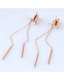Dangling Chain with Sticks Graceful Butterfly Design Stainless Steel Earrings