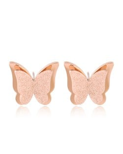 Matting Texture Three-dimensional Butterfly Design Stainless Steel Earrings