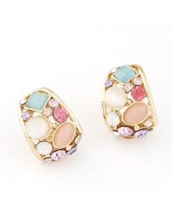 Korean Fashion Opal Decorated Hollow Ear Studs - Multicolor