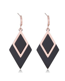 Contrast Color Dangling Rhombus Design Stainless Steel Earrings