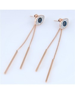 Dangling Chain with Sticks High Fashion Eyes Design Stainless Steel Earrings