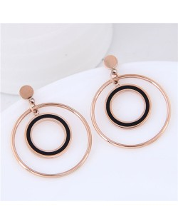 Dangling Hoops Graceful Fashion Design Stainless Steel Earrings