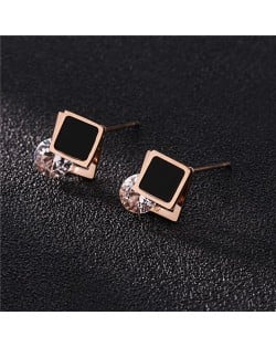 Cubic Zirconia Embellished Square Fashion Stainless Steel Earrings