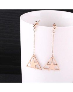 Dangling Star Inlaid Triangle Design Tassel Fashion Stainless Steel Earrings