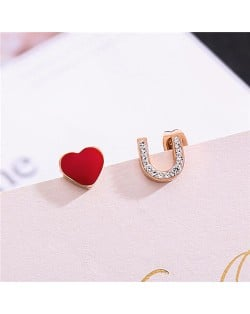 Heart and Love Theme Rhinestone Embellished Asymmetric Design Stainless Steel Stud Earrings