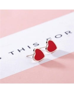 Korean Fashion Sweet Heart Design Stainless Steel Stud Earrings - Red