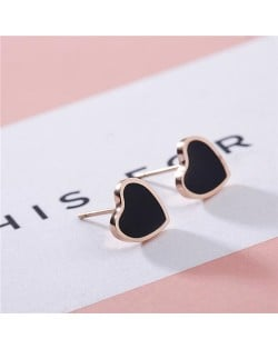 Korean Fashion Sweet Heart Design Stainless Steel Stud Earrings - Black