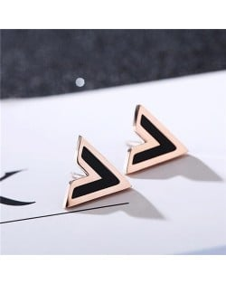 V Alphabet High Fashion Stainless Steel Stud Earrings
