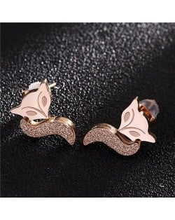 Fox Head Fashion Design Stainless Steel Stud Earrings