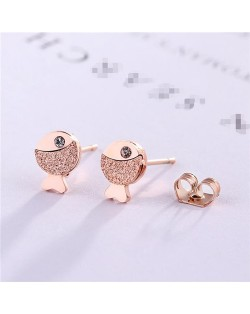 Rhinestone Embellished Cartoon Fish Design Stainless Steel Stud Earrings