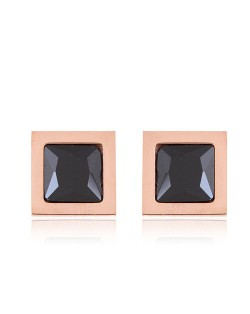 Gem Inlaid Square Shape Stainless Steel Stud Earrings