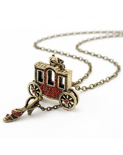 Cinderella Theme Carriage and Glass Slipper Pendants Necklace