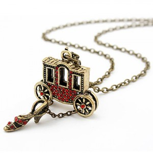 Cinderella theme carriage and glass slipper pendants necklace aloadofball Gallery