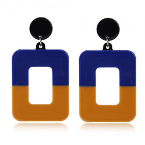 Contrast Colors Dangling Square High Fashion Women Statement Earrings Blue And Brown