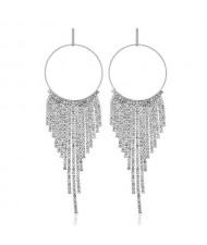 Shining Rhinestone Tassel Hoop Fashion Women Statement Earrings - Silver