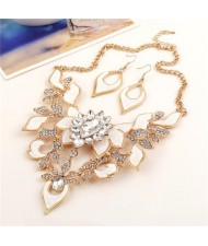 Gem Inlaid Hollow Flower 3D High Fashion Costume Necklace and Earrings Set - Golden and White