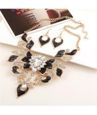 Gem Inlaid Hollow Flower 3D High Fashion Costume Necklace and Earrings Set - Golden and Black