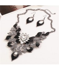 Gem Inlaid Hollow Flower 3D High Fashion Costume Necklace and Earrings Set - Black