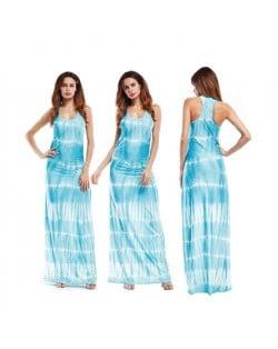 Abstract Gradient Color Design Sleeveless One-piece Women Fashion Long Dress - Light Blue