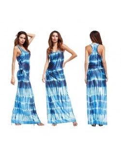 Abstract Gradient Color Design Sleeveless One-piece Women Fashion Long Dress - Dark Blue