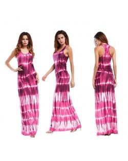 Abstract Gradient Color Design Sleeveless One-piece Women Fashion Long Dress - Peach Red