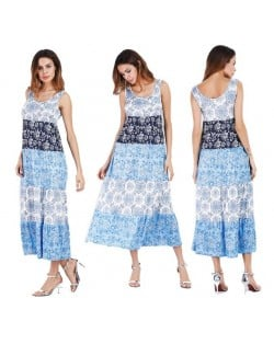Snowflakes Printing Romantic Fashion Sleeveless One-piece Women Long Dress - Blue