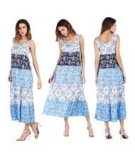 Snowflakes Printing Romantic Fashion Sleeveless One-piece Women Long Dress - Blue