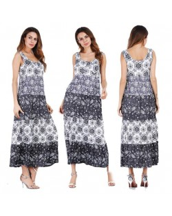 Snowflakes Printing Romantic Fashion Sleeveless One-piece Women Long Dress - Black