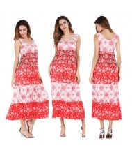 Snowflakes Printing Romantic Fashion Sleeveless One-piece Women Long Dress - Red