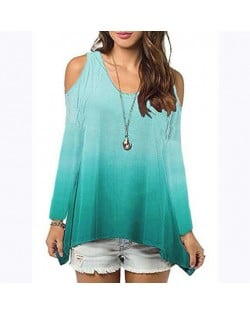 Bare Shoulder Loose Style Long Sleeve Women Top - Green